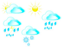 Sun clouds rain snow and storms Royalty Free Stock Images