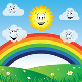 Sun and clouds with rainbow. Illustration vector design Royalty Free Stock Image