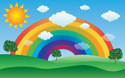 Sun and clouds with rainbow landscape. Illustration Stock Photos