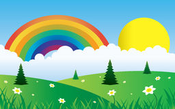 Sun and clouds with rainbow landscape. Illustration vector design Royalty Free Stock Image