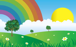 Sun and clouds with rainbow landscape Stock Photos