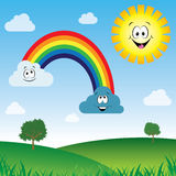Sun and clouds with rainbow Stock Photo
