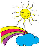 Sun, clouds with a rainbow on a white background Stock Image