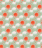Sun with clouds seamless pattern Royalty Free Stock Image
