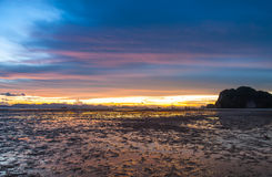 Sun, clouds and sky,. Beautiful fall evening in Krabi Royalty Free Stock Images