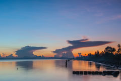 Sun, clouds and sky,. The sun rises in the morning sky, clouds and beautiful Surat thani Stock Images