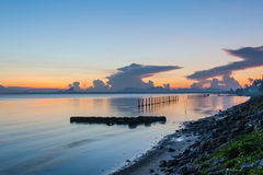 Sun, clouds and sky,. The sun rises in the morning sky, clouds and beautiful Surat thani Royalty Free Stock Photo