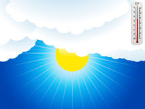 Sun clouds and thermometer background Royalty Free Stock Photos