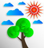 Sun clouds tree Icon Stock Photos