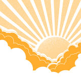 Sun with clouds.Vector nature yellow background Stock Photos