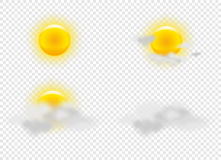 Sun and clouds in weather icons set Royalty Free Stock Images