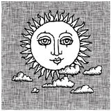 Sun and clouds woodcut Royalty Free Stock Images