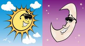 Sun cobarde y luna Fotografía de archivo libre de regalías