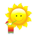 Sun With Cocktail Royalty Free Stock Photography