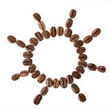 Sun from coffee beans isolated on a white background Stock Photos