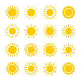 Set of vector icons of yellow sun circles with rays made in simple geometric style. Summer sunny concept. Royalty Free Stock Photography
