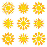 Sun collection icons. The sun icons collection. Isolated objects on a white background. Vector illustration Stock Photo