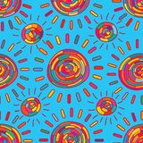Sun colorful tribal style seamless pattern stock illustration