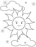 Sun coloring page Royalty Free Stock Photo