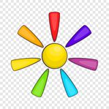 Sun in colours of LGBT icon, cartoon style. Sun in colours of LGBT icon in cartoon style isolated on background for any web design stock illustration