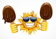 Sun com dois gelado Ilustração Stock