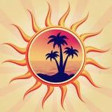 Sun com palmas Imagens de Stock