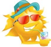 Sun com vidros e chapéu da bebida Imagem de Stock