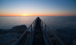 The Sun Comes up Over Lake Michigan Milwaukee Harbor Royalty Free Stock Photography