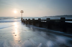 Sun Coming up at Swanage Stock Image