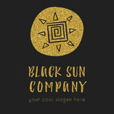 Sun company logo with the sun icon in hand drawn style. Business idea for travel companies or retail. Glitter effect, text for slo. Gan. with the sun icon in Stock Photography
