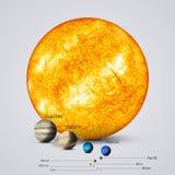 Sun a comparé aux planètes Images stock