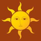 Sun con el fondo marrón Imagen de archivo
