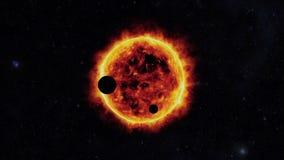 Sun con i exoplanets Immagini Stock