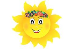 Sun con i fiori Fotografia Stock Libera da Diritti