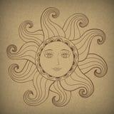 Sun con il fronte gentile. Illustrazione di Stock