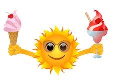 Sun con il gelato Fotografie Stock