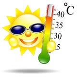 Sun con il termometro isolato Fotografia Stock Libera da Diritti
