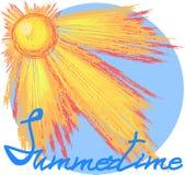 Sun con il testo dell'iscrizione illustrazione vettoriale