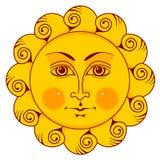 Sun con la cara Imágenes de archivo libres de regalías