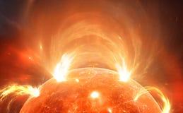 Sun con la corona Tempesta solare, chiarori solari Fotografia Stock Libera da Diritti