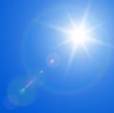 Sun con la flama de la lente ilustración del vector