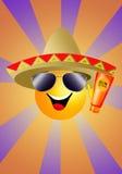 Sun con la lozione del sole e del sombrero Immagine Stock Libera da Diritti