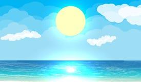 Sun con la riflessione in acqua Fotografia Stock Libera da Diritti