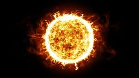 Sun con las protuberancias solares y las explosiones HD 1080 Animación colocada stock de ilustración