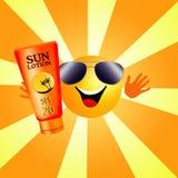 Sun con lozione d'abbronzatura Fotografie Stock Libere da Diritti
