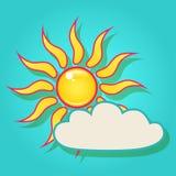 Sun con una nuvola nel cielo Immagini Stock Libere da Diritti