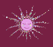 Sun consisting of the bubbles sleeping night purple on a pink ba Stock Photos