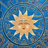 Sun constellation. Zodiac signs in circle with golden sun Royalty Free Stock Images
