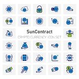 Sun Contract Crypto Currency icons set. For web design and application interface, also useful for infographics. Vector illustration Royalty Free Stock Photo