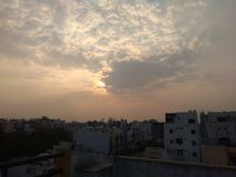 Sun coperto di nuvole fotografia stock